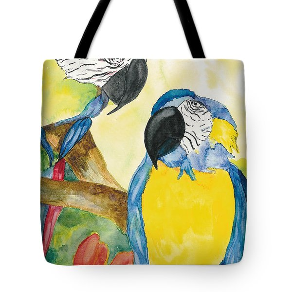 Tote Bag featuring the painting Love Birds by Vicki  Housel