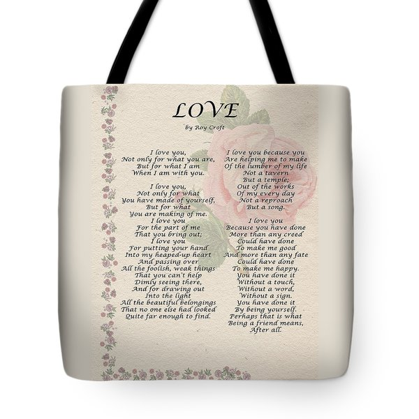 Love By Roy Croft Tote Bag