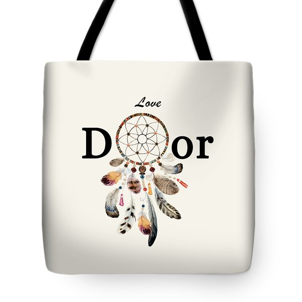 Tote Bag featuring the painting Love Dior Watercolour Dreamcatcher by Georgeta Blanaru