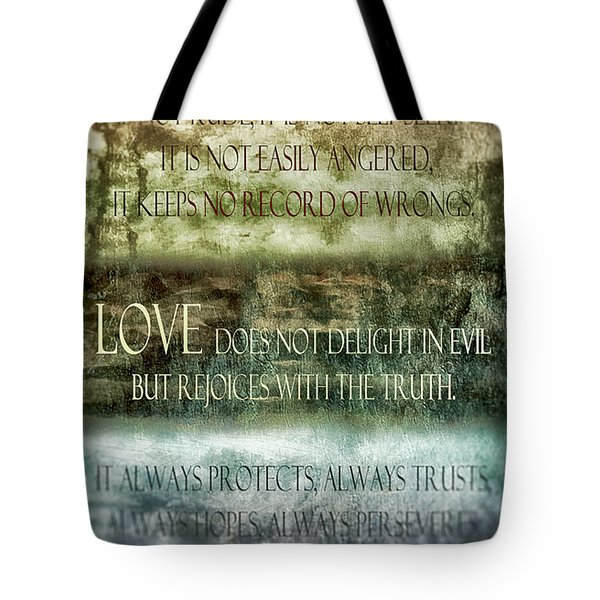 Tote Bag featuring the digital art Love Does Not Delight In Evil by Angelina Vick