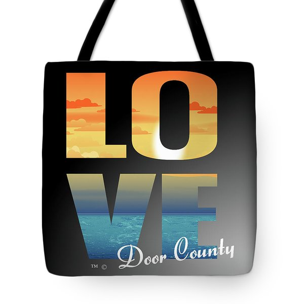Tote Bag featuring the mixed media Love Door County by Tracy Andropolis