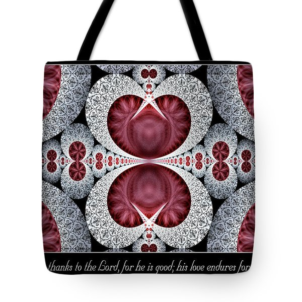 Tote Bag featuring the digital art Love Endures Forever by Missy Gainer