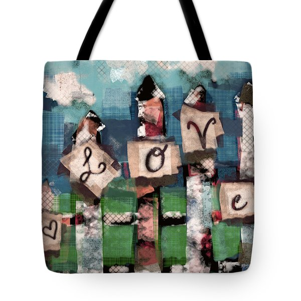 Tote Bag featuring the mixed media Love Fence by Carrie Joy Byrnes