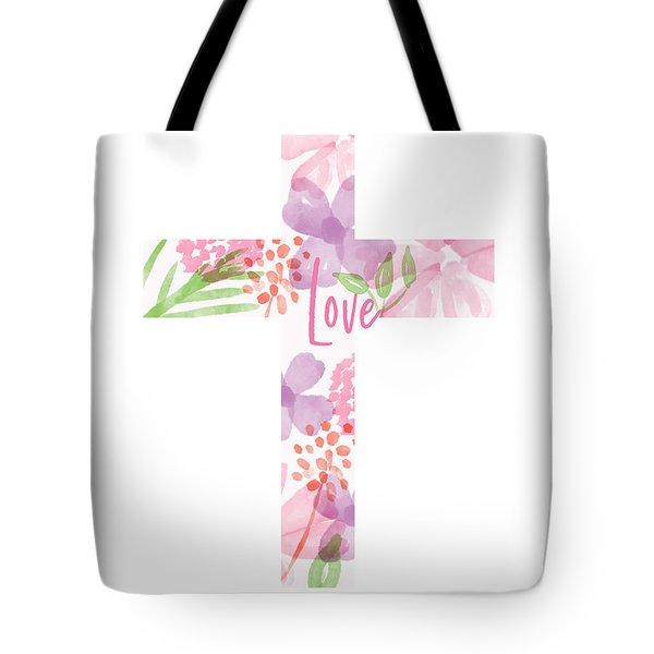 Love Floral Cross- Art By Linda Woods Tote Bag