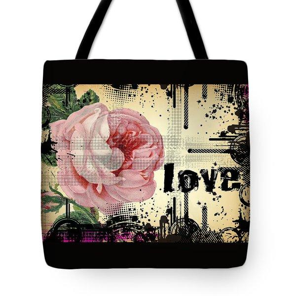 Tote Bag featuring the digital art Love Grunge Rose by Robert G Kernodle