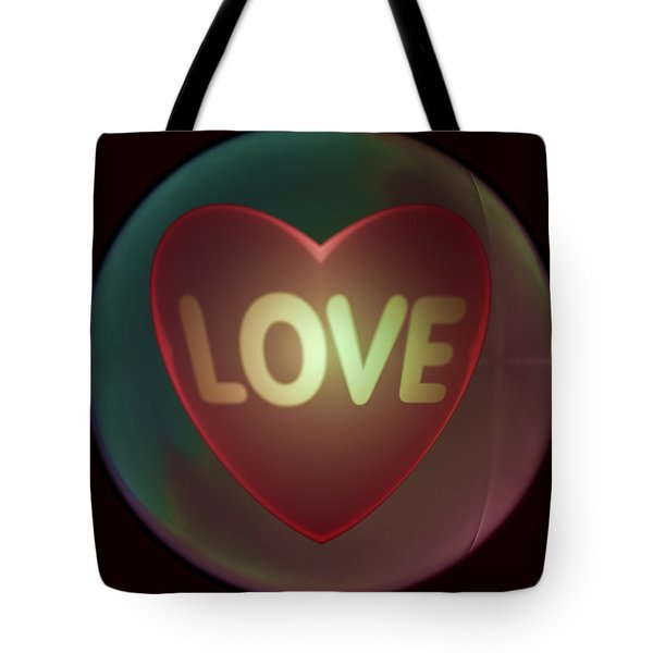 Love Heart Inside A Bakelite Round Package Tote Bag