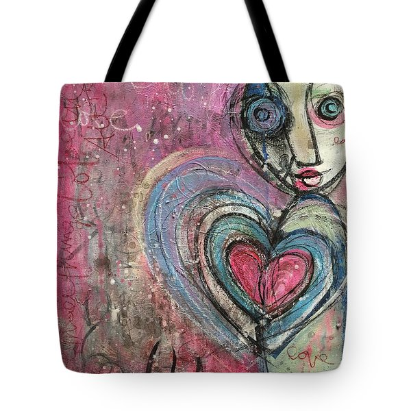Tote Bag featuring the painting Love In All Things by Laurie Maves ART