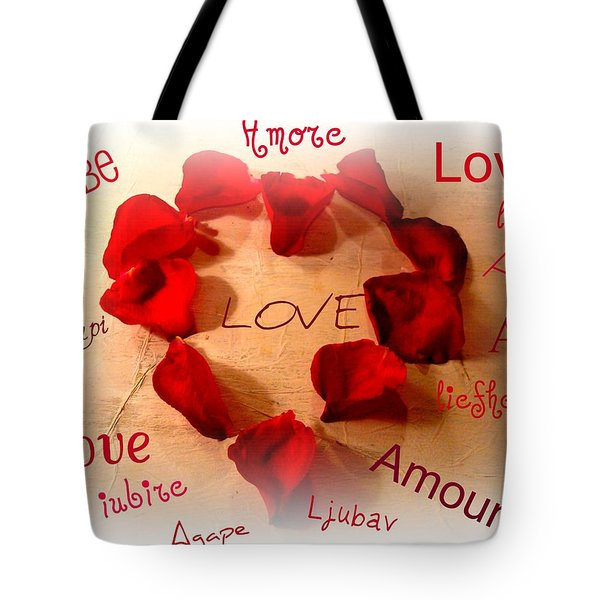 Love In Any Language Tote Bag by Kathy Bucari
