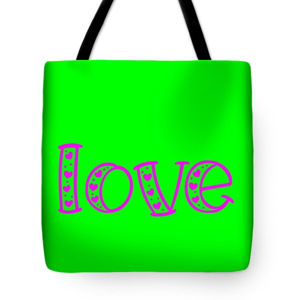 Love In Magenta And Green Tote Bag