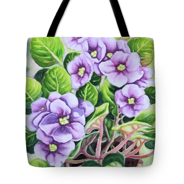 Tote Bag featuring the painting Love In Purple 1 by Inese Poga