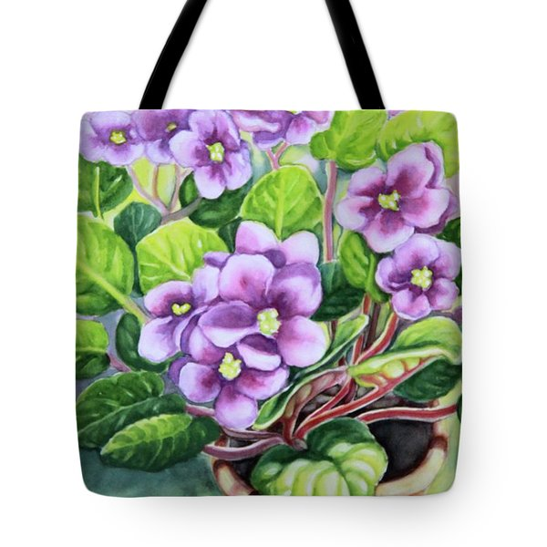 Tote Bag featuring the painting Love In Purple 2 by Inese Poga