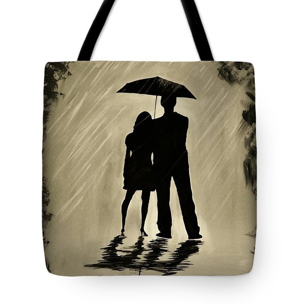 Love In The Rain D Tote Bag by Leslie Allen