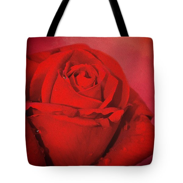Tote Bag featuring the photograph Love Is A Red Rose With Raindrops by Diane Schuster