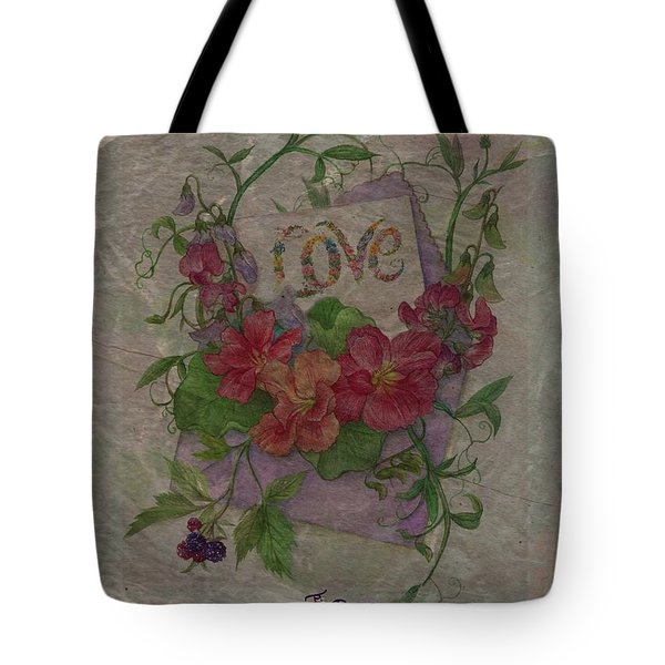 Tote Bag featuring the painting Love Is In Bloom Botanical by Judith Cheng