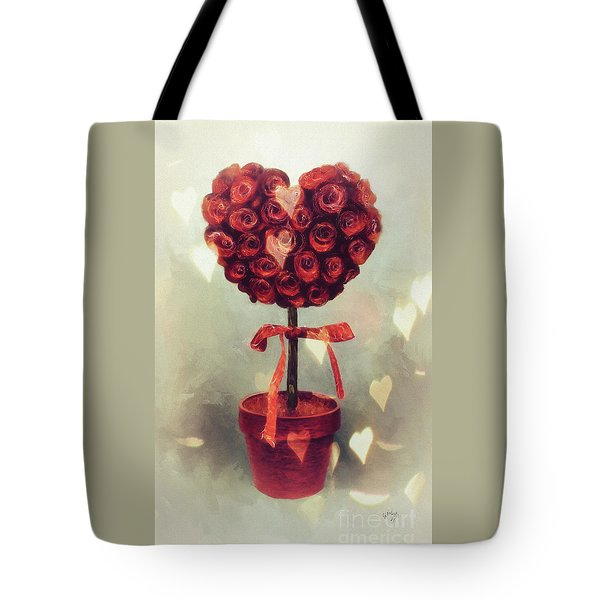 Tote Bag featuring the digital art Love Is In The Air by Lois Bryan