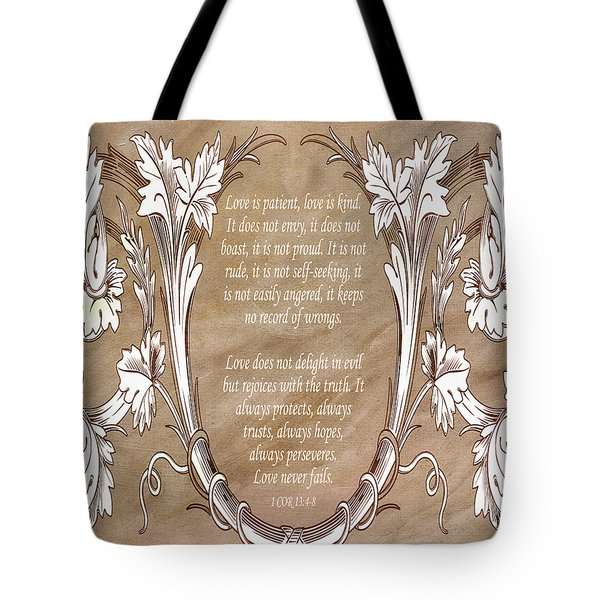 Tote Bag featuring the digital art Love Is Patient by Angelina Vick