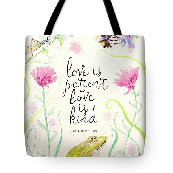 Love Is Patient Tote Bag by Susan Jenkins