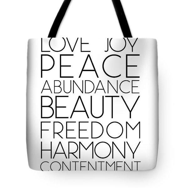 Love Joy Peace Beauty Virtues Tote Bag