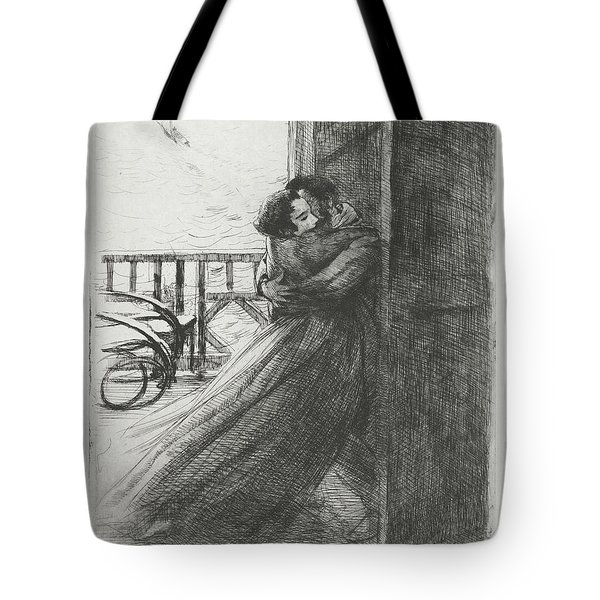 Tote Bag featuring the drawing Love - La Femme Series by Paul-Albert Besnard