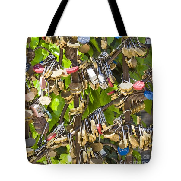 Tote Bag featuring the photograph Love Locks Square by Chris Dutton