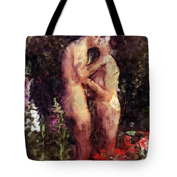 Love Me In The Garden Tote Bag by Kurt Van Wagner