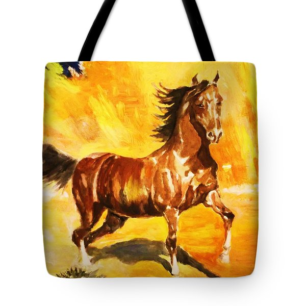 Tote Bag featuring the painting Lone Mustang by Al Brown