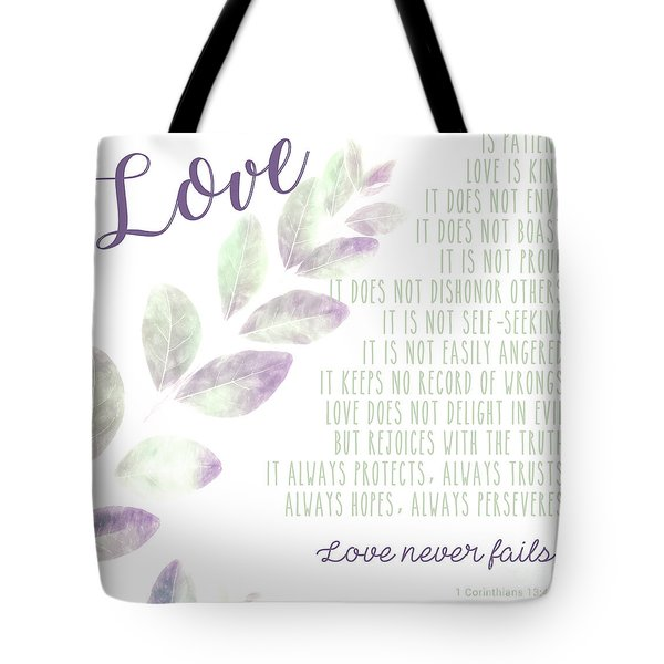 Tote Bag featuring the photograph Love Never Fails by Andrea Anderegg