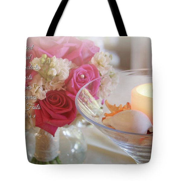Tote Bag featuring the photograph Love Never Fails by Trina Ansel