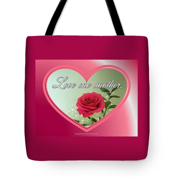 Tote Bag featuring the digital art Love One Another Card by Sonya Nancy Capling-Bacle