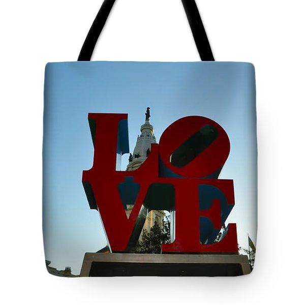 Love Park In Philadelphia Tote Bag by Bill Cannon