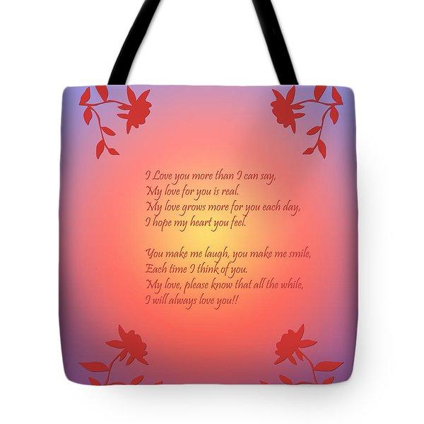 Love Poetry Tote Bag by Karen Nicholson