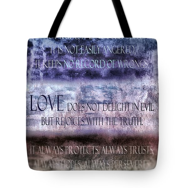 Tote Bag featuring the digital art Love Rejoices With The Truth by Angelina Vick