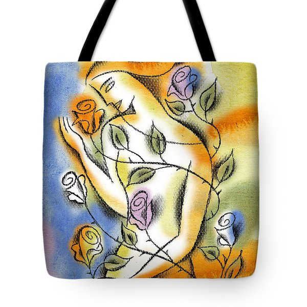 Tote Bag featuring the painting Love, Roses And Thorns by Leon Zernitsky