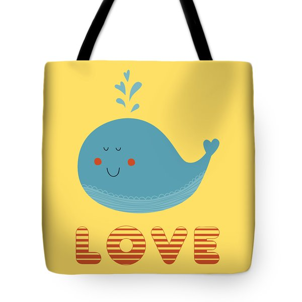 Love Whale Cute Animals Tote Bag