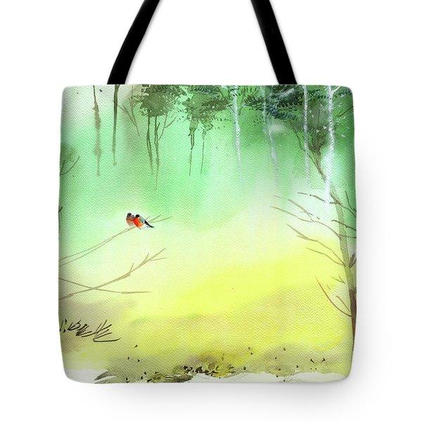 Lovebirds 3 Tote Bag by Anil Nene