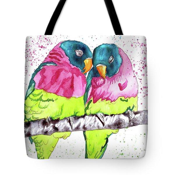 Lovebirds Tote Bag by D Renee Wilson