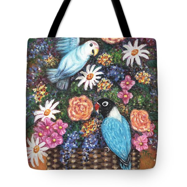 Lovebirds Two Tote Bag by Linda Mears