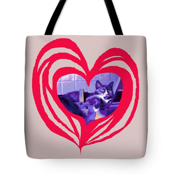 Loveheart Kitty Tote Bag by Mary Armstrong