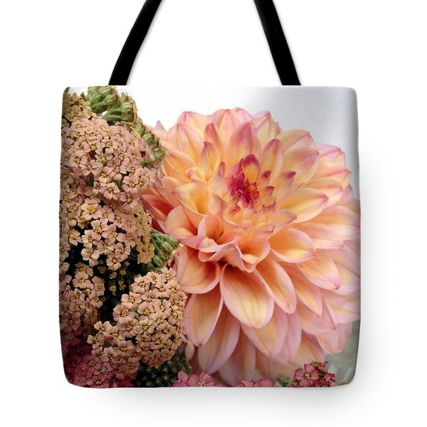 Dahlia Flower Bouquet Tote Bag by Blenda Studio
