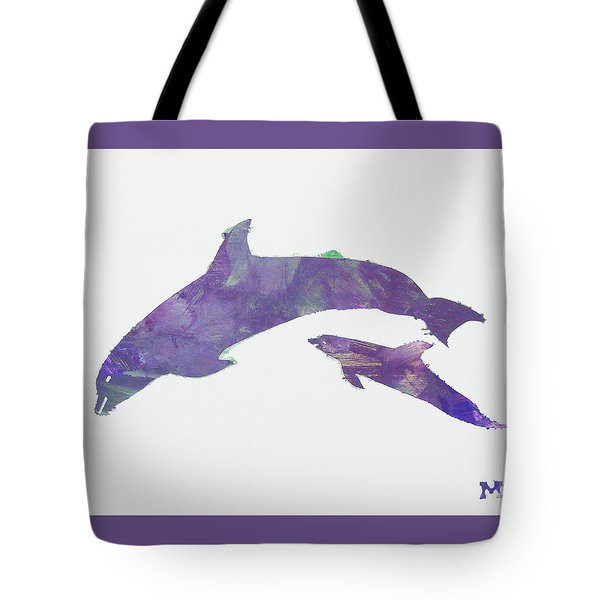 Tote Bag featuring the painting Lovely Dolphins by Candace Shrope
