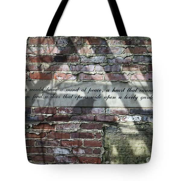 Lovely Garden Wall Tote Bag