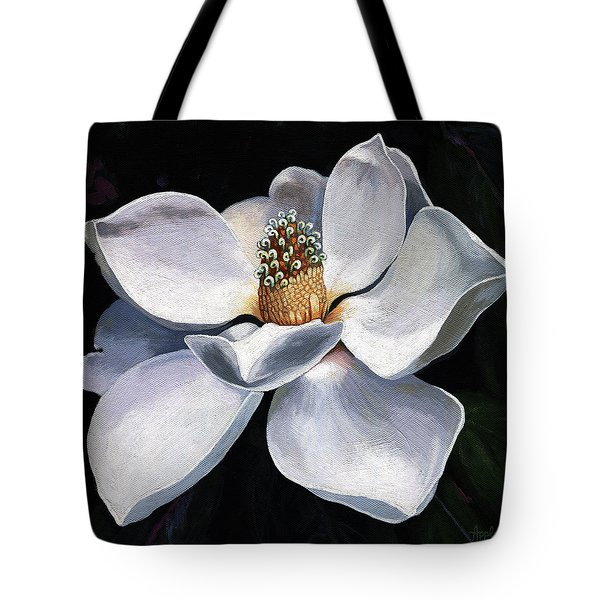 Tote Bag featuring the painting Lovely In White - Painting Magnolia Flower  by Linda Apple