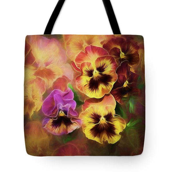 Lovely Spring Pansies Tote Bag by Diane Schuster