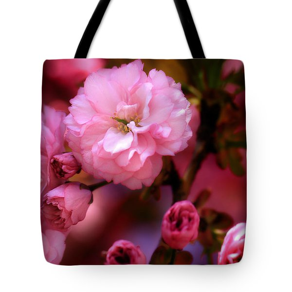 Tote Bag featuring the photograph Lovely Spring Pink Cherry Blossoms by Shelley Neff