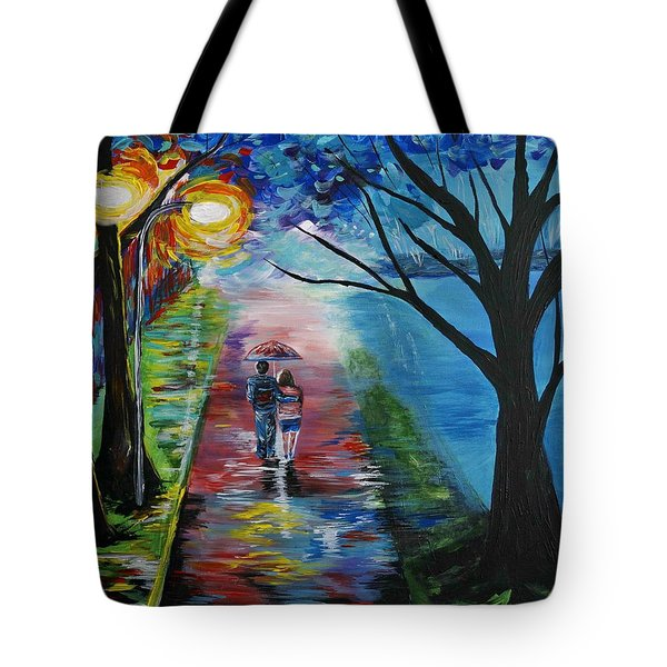 Lovely Stroll By The Lake Tote Bag by Leslie Allen