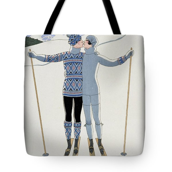 Lovers In The Snow Tote Bag
