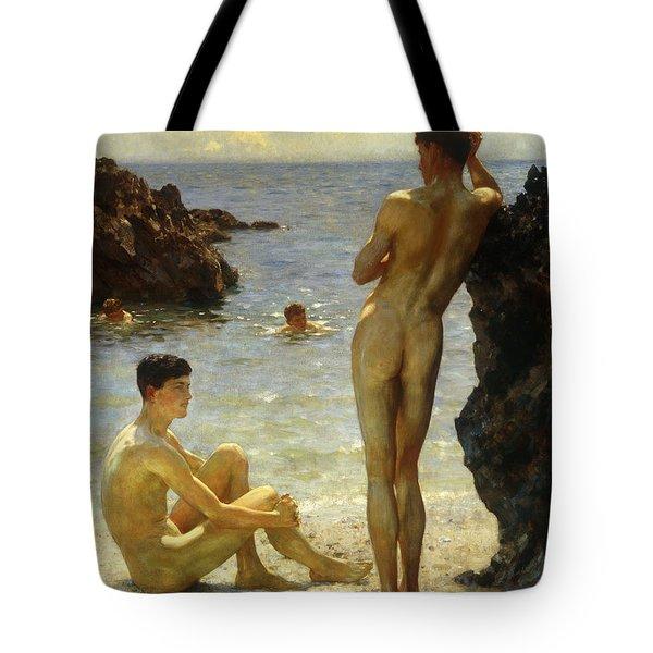 Lovers Of The Sun Tote Bag by Henry Scott Tuke