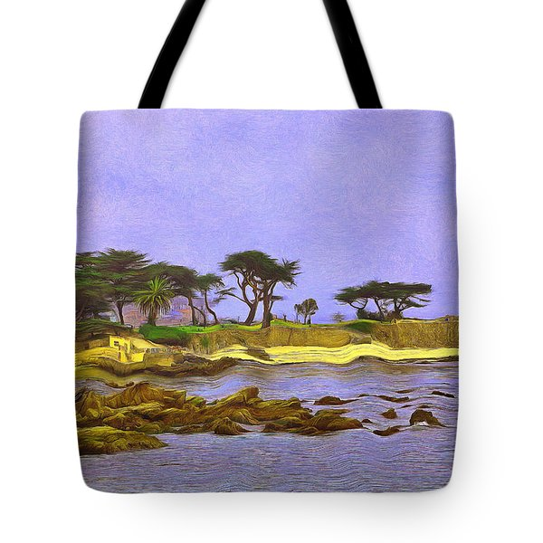 Tote Bag featuring the painting Lovers Point Monterey County by Viktor Savchenko