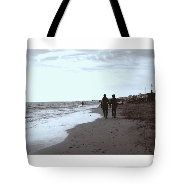 #lovers #walking On The #seashore In Tote Bag