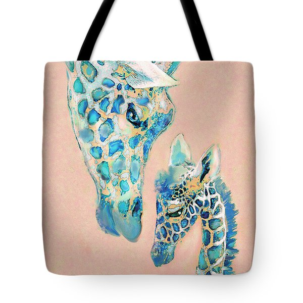 Tote Bag featuring the digital art Loving Giraffes Family- Coral by Jane Schnetlage